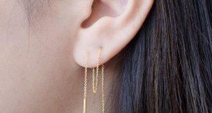 Long Threader Earrings-Delicate Chain Earrings-Edgy Earrings- Pull Through Earrings- Bar Ear Threader - String Earrings-CHE023