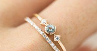 March - Aquamarine Star & Moon Ring