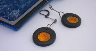 Minimalist earrings, Dangling earrings, Elegant black earrings, Polymer clay jewelry, Simple jewelry, Everyday jewelry, Unique gift for her