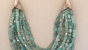 Multi-Strand Blue Fluorite and Silver Statement Necklace