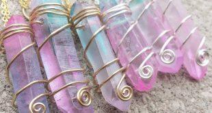 Pastel Cotton Candy Quartz Crystal Swirl Necklace / Aura Quartz Choker / Wire Wrapped Quartz / Pastel Goth Necklace / Pink and Blue Crystal