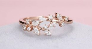 Rose gold engagement ring Diamond Cluster ring Unique moissanite Delicate leaf wedding women Bridal set Promise Anniversary Gift for her