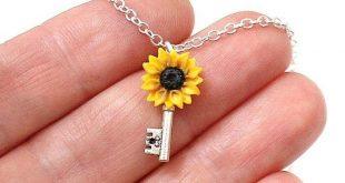 Sunflower Key Necklace, Silver Key, Yellow Pendant, Bridesmaid Necklace, Yellow Bridesmaid Jewelry, Key Pendant, Sunflower Flower