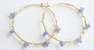 Tanzanite Amethyst Hoop Earrings, Forget me not Jewelry, Blue Purple Earrings, Gift for her