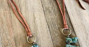 Turquoise Slab Stone Bead Fringe Leather Necklace