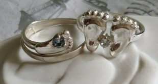 Vintage silver baby foot ring stackable gemstone with light blue topaz stone for woman birth of the baby Soviet era jewelry