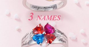 💝 Personalized Mothers Ring with Heart Birthstone