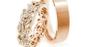 14k Gold Eheringe. Ehering gesetzt. Einzigartige Eheringe. Passende Eheringe. Paar Ringe. Trauringe. Ring-set sein und ihn