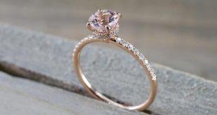 14k Rose Gold Dainty Round Morganite With Round Cut Diamonds Ring ER010002