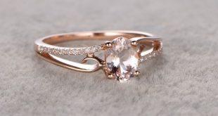 6x8mm Oval Morganit Verlobungsring Diamant Ehering 14k Roségold einfach geteilt...