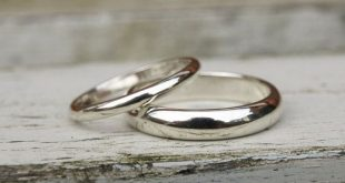 9ct white gold wedding band set, white gold band set