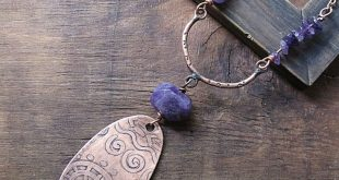 Amethyst Etched Copper Reversible Pendant, Large Oval Spiral Boho Rustic Necklace Statement Ethnic Tribal Pattern Jewelry Handmade Metalwork
