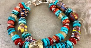 Antique African Trade Bead Bracelet, Turquoise Jewelry, Sundance Style Jewelry, Boho Chic Jewelry, Natural Stone Jewelry