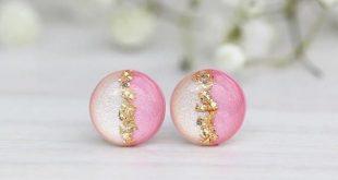 Beige Pink Earrings, Trendy Earrings, Simple Earrings Champagne, Gift women, Girls Gift, Titanium Earrings, Wedding gift, Bridesmaid gift