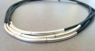 Black Leather Necklace, Silver Necklace, Statement Necklace, Leather Jewelry, Simple Necklace, Strings Necklace, Silver Tubes Necklace