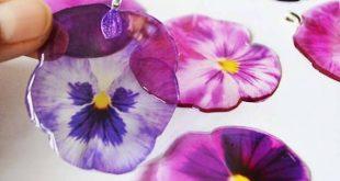Brautjungfer Stiefmütterchen Silber Halskette. Naturharz-Halskette. Blumenschmuck. Brautjungfer Geschenk