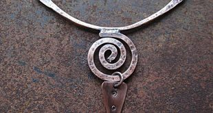 Copper Serpentine Spiral Pendant, Ethnic Tribal Swirl Necklace, Simple Curved Bar Necklace, Hippie Boho Rustic Jewelry Hand Forged Metalwork