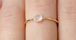 Dainty Moonstone Ring, Sterling Silver. Yellow Gold Vermeil, Delicate Minimalist Ring, Hand Made Jewelry, Girlfriend Gift, RNG036MOO
