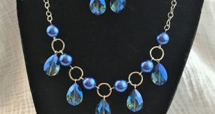 Dunkelblaue Halskette und Ohrring-Set Halskette Ohrring-Set blau Tear Drop Halskette ... - #...