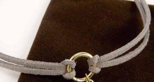 Ein grauer Double Wrap Choker mit Blatt wird jedes Outfit begeistern! #jewelrymakingt