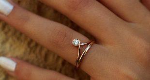Gold Chevron engagement ring, Wedding band