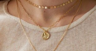 Gold Medallion Layered Necklace, Angel Coin Necklace, Gold Layering necklace, Wa...