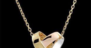 Halskette in 375er Gold - Herzmotiv in dreierlei Goldfarben - Edenly