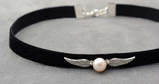 Harry Potter Schmuck Black Velvet Halsband mit Naturperle