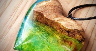 Holz Harz Anhänger Multicolor Herz Beachwear Modeschmuck moderner Schmuck Jubil...