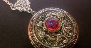 Large Dragons Breath Locket Necklace - Fire Opal - Photo Keepsake Jewelry - Custom Length Chain - Christmas Gift