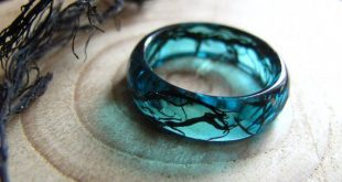 Mermaid Ring, Ocean Resin Ring, Nature Ring, Meerjungfrau Schmuck, Blauer Resin-Ring, Stapelring, Schwarzer Algenring, Sommerring, Nautikring