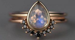 Mondstein Verlobungsring, schwarze Diamant-Band, Birne geformt Ring, 14 k Gold Vintage Hochzeit Ring Set Braut Schmuck einfache Stapeln Jahrestag