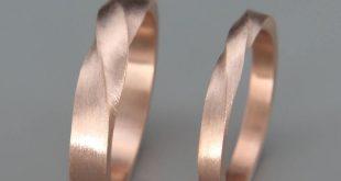 Passende Mobius Eheringe | Seine und ihre Mobius Hochzeit Ringe Set | 14k Rose Gold Mobius Eheringe set | Paare-Eheringe