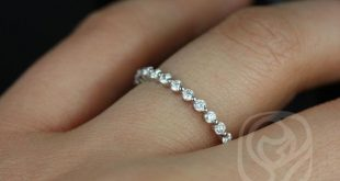 Petite Naomi/Petite Bubble & Breathe 14kt White Gold Diamond Single Prong Floating ALMOST Eternity Band Ring,Rosados Box