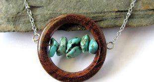 Polymer Anhänger Holz-Effekt mit Edelstein Perlen Holz Schmuck ... #anhanger #e...