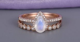 Rose Gold Moonstone Engagement Ring Vintage Delicate Diamond Wedding women Bridal set jewelry Simple Pear Shaped Cut Stacking Anniversary