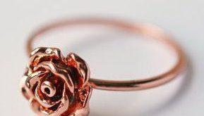Rose Gold Rose Ring Pink Gold Größe 5,5 und 5,75 moderne zierliche einfache Schmuck