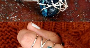 Schmuck rohen Stein Ring, Apatit Ring, Sterling Silber Ring für Frauen, Draht ....