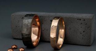 Schwarz und hellen 14k Rose Gold facettierten Trauringe Set | Handgefertigte 14 k schwarz Gold strukturierte facettierte Eheringe set 3mm, 4mm, 5mm, 6mm