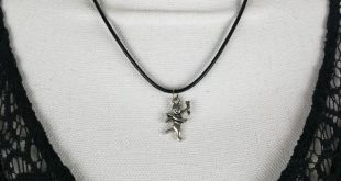 Silver tone Cupid necklace Valentine's day Silver tone Cupid pendant on blac...