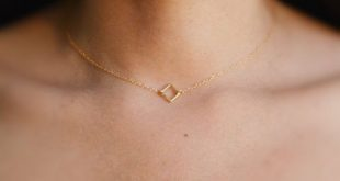 Square necklace, gold necklace, tiny gold necklace, simple necklace, dainty necklace, square link necklace,gift for women- 017