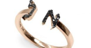 Stackable Name Ring, Black Diamond Ring, Stackable Gold Ring, Diamond Ring, Bat Mitzvah Gift, Name Ring, Diamond Band, Initial Ring