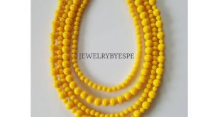 Super Chunky Necklace, Yellow Necklace, Statement Necklace, Layered Necklace, Multi Strand, Beaded N