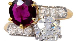 Tiffany & Co. Art Deco diamond and ruby bypass ring