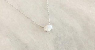 Tiny Opal Dainty Necklace in Silver Chain