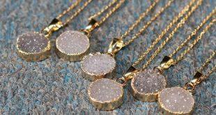 Verkauf runden Achat Druzy handgemachte Druse Geode Halskette Hochzeit Partei Geburtstag Schmuck Druzzy DJ-1