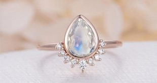 Vintage Moonstone Rose Gold Diamond Wedding women Unique Bridal set engagement ring Jewelry P...