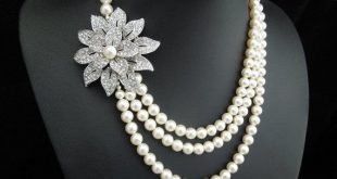 pearl necklace, bridal necklace, pearl bridal jewelry, rhinestone brooch necklace, crystal necklace, wedding necklace, vintage style, EUGENE