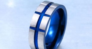 top quality blue scrub stainless steel ring simple style jewelry for man wholesale price BR-R083